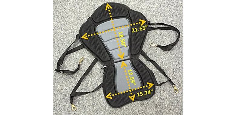 Pactrade Marine Adjustable Padded Deluxe Kayak Seat Detachable Back Backpack-Bag Canoe Backrest Specifications