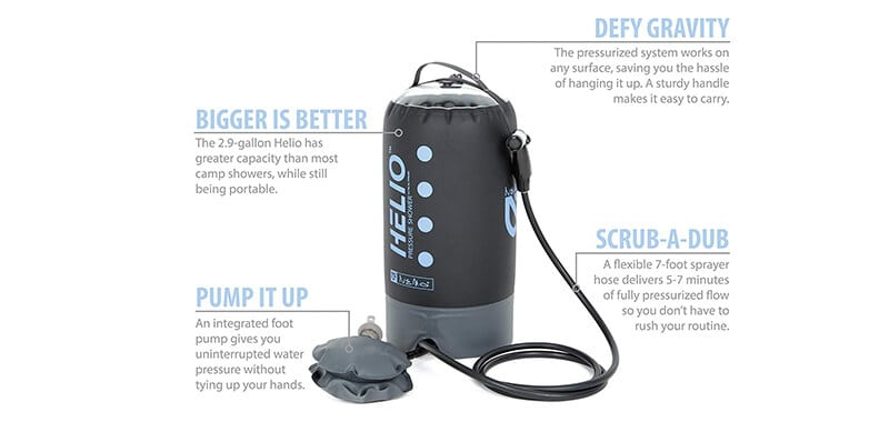 Nemo Helio Portable Pressure Shower with Foot Pump Specifications