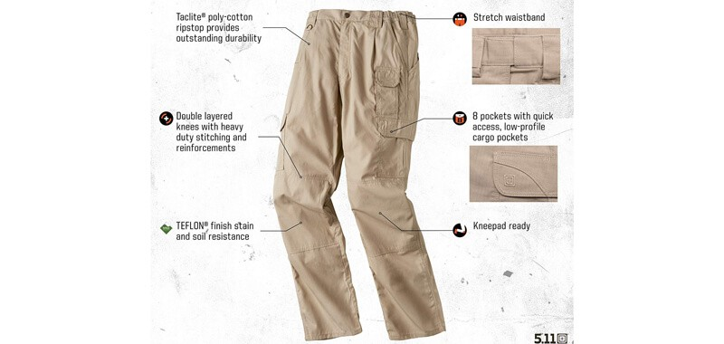 5.11 Men's TacLite Pro Tactical Pants with Cargo Pockets SPECS