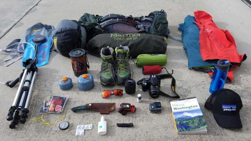 Backpacking hiking clothes and gears