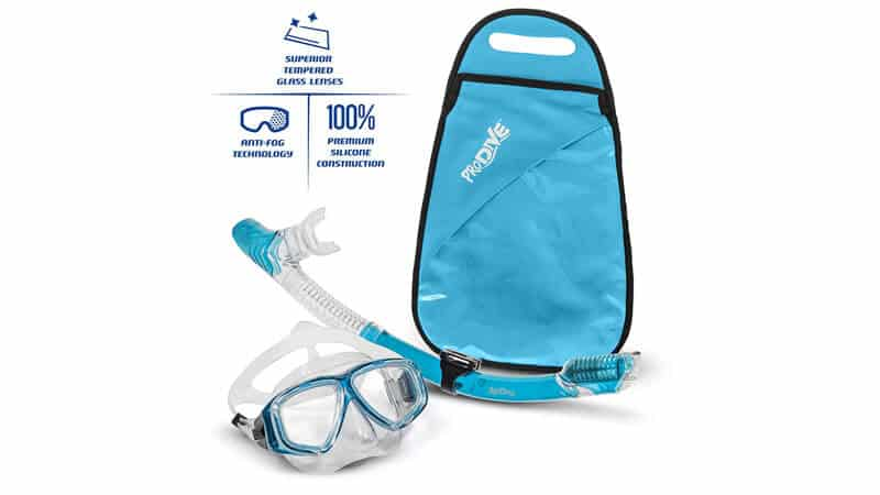 PRODIVE Premium Dry Top Snorkel Set – Impact Resistant Tempered Glass Diving Mask, Watertight and Anti-Fog Lens for Best Vision, Easy Adjustable Strap, Waterproof Gear Bag Included