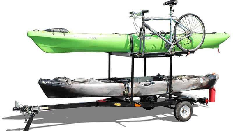 RIGHT-ON TRAILER Multi-Sport Multi-Rack Kayak Trailer by Right on Durable Transporting Trailer for Kayaks, Sups, Canoes, Bicycles & More