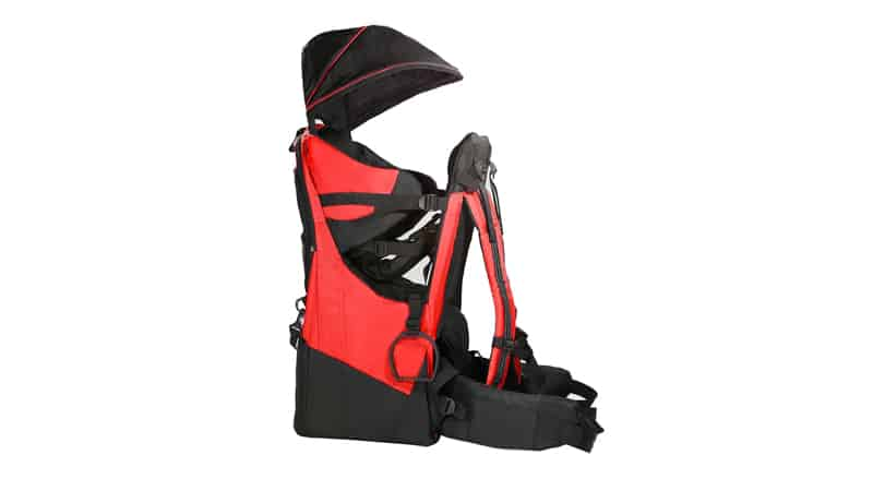 Clevr Deluxe Baby Backpack Hiking Toddler Child Carrier Lightweight with Stand & Sun Shade Visor, Red 1 Year Limited Warranty