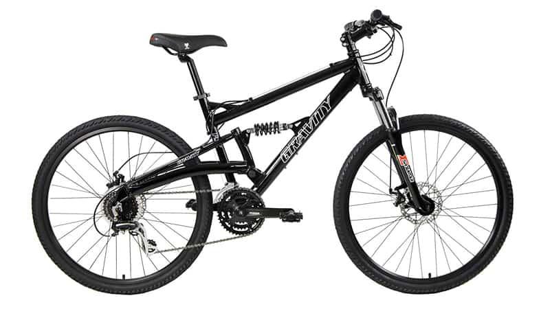 2018 Gravity FSX 1.0 Dual Full Suspension Mountain Bike with Disc Brakes, Shimano Shifting, Aluminum Frame