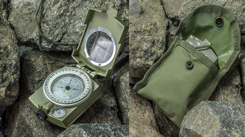 SE CC4580 Military Lensatic and Prismatic Sighting Survival Emergency Compass as Best Hiking Compass
