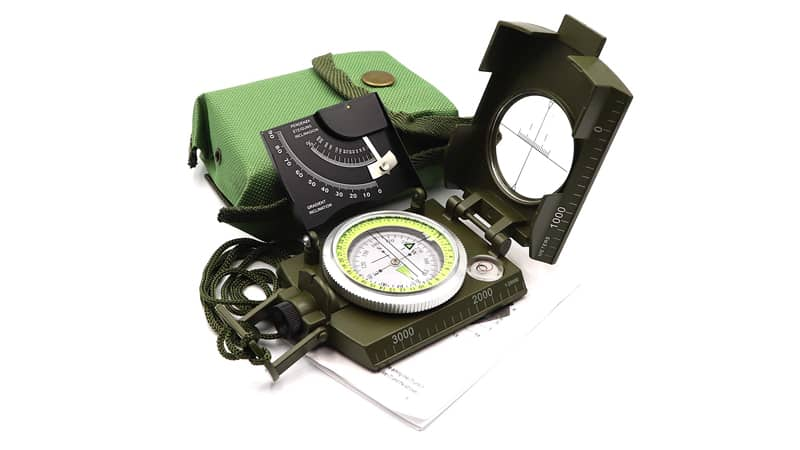 DETUCK(TM Military Compass Metal Lensatic Compass with Inclinometer, Night Fluorescent, Impact Resistant and Waterproof, Sighting Navigation Survival