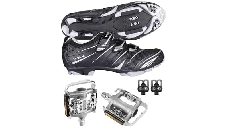 Venzo Mountain Bike Bicycle Cycling Compatible with Shimano SPD Shoes + Multi-Use Pedals