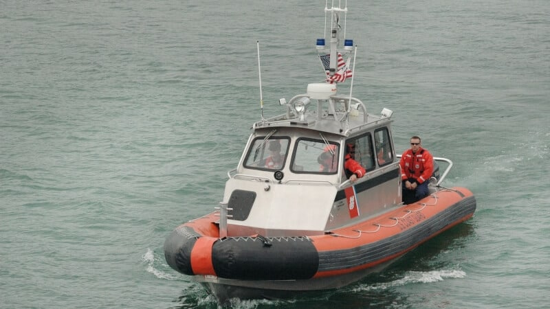 Coast guard in the ocean