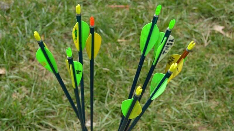 Green arrows in grass
