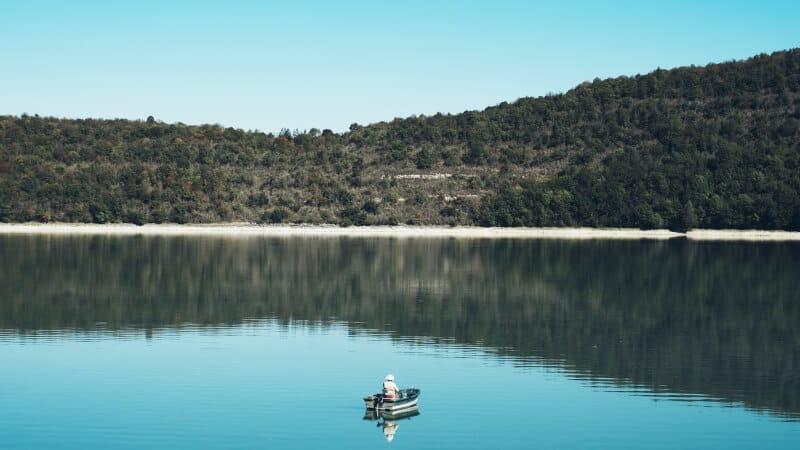 Man Fishing in the Lake