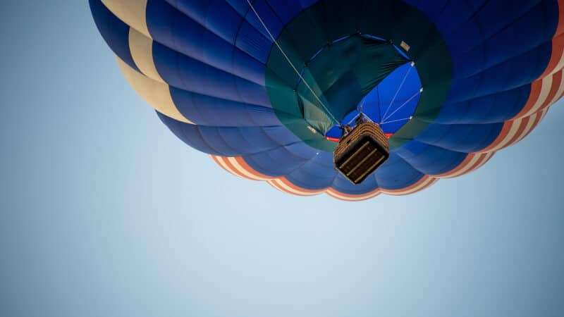 Bottom view of hot air balloon