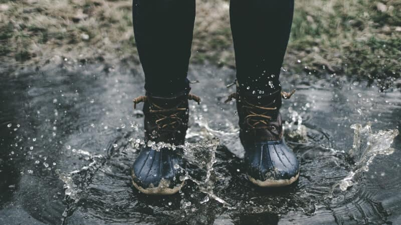 Duck boots in a puddle