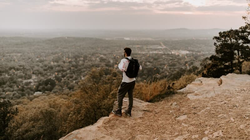 Man with a backpack hiking