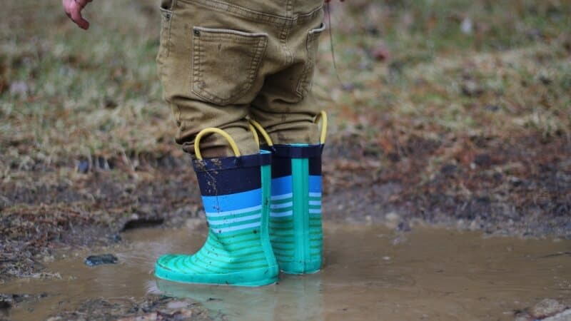 Rain boots in the mud