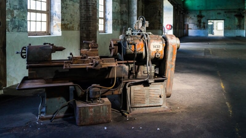 Generator in an abandoned building