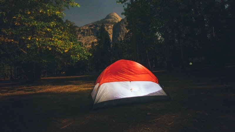 White tent with orange ceiling