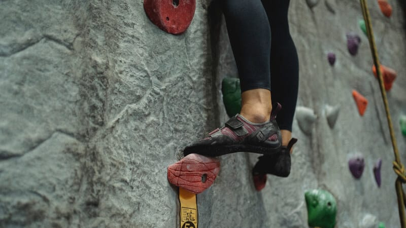 climbing shoes on wall