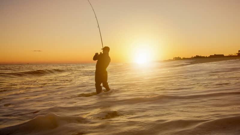 fishing and sunset