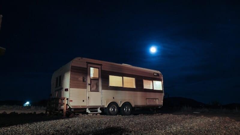 rv trailer at night