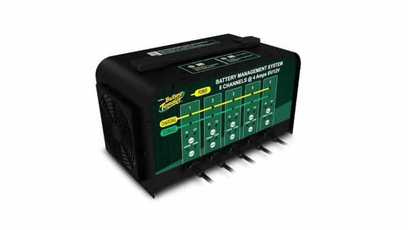 Battery Tender 5-Bank Charger Selectable 6V 4 Amp Automotive 12V Battery Charger with 5 Banks - Smart and Switchable Multi-Bank 12V-Battery Charger and Maintainer Station - 021-0133-DL-WH