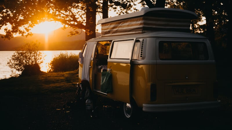 camper and sunset