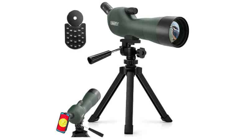 Emarth 20-60x60AE 45 Degree Angled Spotting Scope with Tripod, Phone Adapter