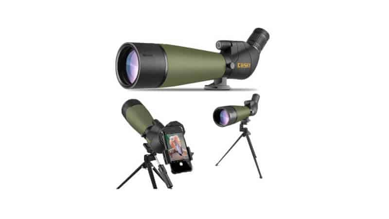 Gosky Updated Spotting Scope with Tripod, Carrying Bag - BAK4 Angled Scope for Target Shooting Hunting