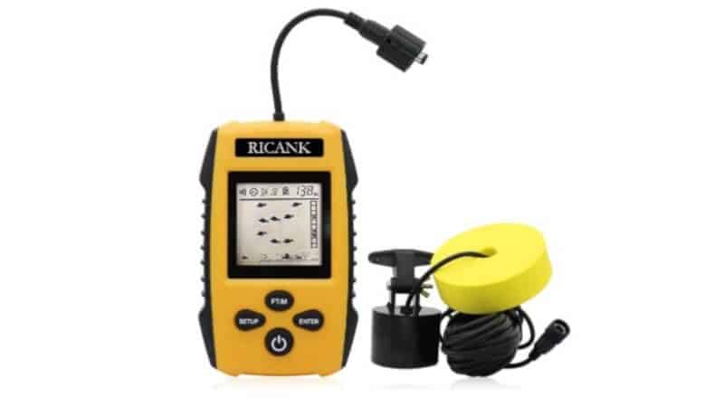 RICANK Portable Fish Finder Handheld Wired Fish Depth Finder Ice Kayak Fishfinder Shore Boat Fishing Fish Detector Device with Sonar Sensor Transducer and LCD Display Gear Fish Depth Finder